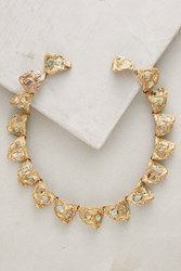 Anthropologie Wilted Emerald Collar Necklace Gold