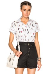 Kenzo Cartoon Cactus Stretch Poplin Top In White Abstract