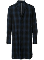 Kazuyuki Kumagai Checked Midi Shirt Coat Men Linen Flax 5 Blue