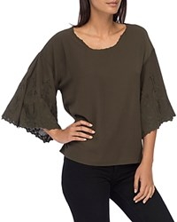 B Collection By Bobeau Elisa Embroidered Sleeve Blouse Olive Branch