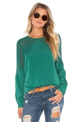 1.State Long Sleeve Sheer Yoke Blouse Emerald