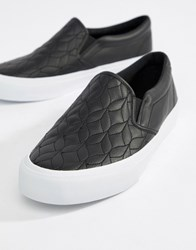 Asos Design Slip On Plimsolls In Black With Quilted Detail