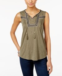 Styleandco. Style And Co. Sleeveless Peasant Top Only At Macy's Olive Spring