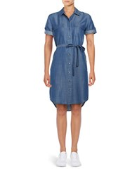 Lord And Taylor Belted Shirt Dress Blue