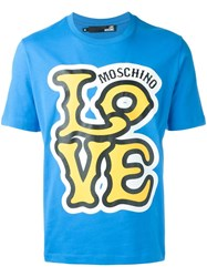 Love Moschino Logo Print T Shirt Blue