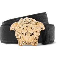 Versace 4Cm Black Full Grain Leather Belt Black