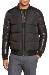 Mackage Down And Leather Mixed Media Bomber Black