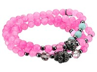 Betsey Johnson Pink Power Bead Skull Bracelet Black Bracelet