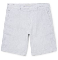 Onia Abe Striped Linen Shorts Gray