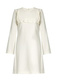 A.L.C. Ruffle Trimmed Long Sleeved Crepe Dress White