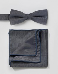 Minimum Bow Tie And Pocket Square Set In Chambray Blue