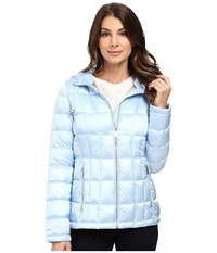 Calvin Klein Short Hooded Lightweight Packable Down Pearlized Light Blue Women's Coat