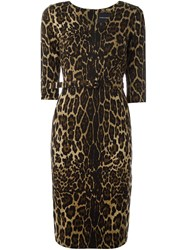 Samantha Sung Leopard Print Dress Brown