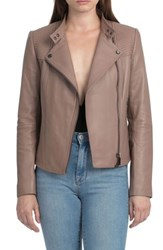 Bagatelle Women's Quilted Lambskin Leather Moto Jacket Cappuccino