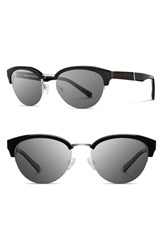 Women's Shwood 'Hayden' 53Mm Acetate And Wood Sunglasses Black Silver Grey
