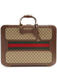 Gucci Gg Supreme Canvas And Leather Suitcase Multi