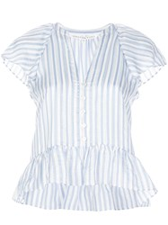 Veronica Beard Striped Print Ruffled Blouse 60