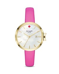 Kate Spade New York Leather Park Row Watch 34Mm White Pink
