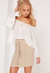 Missguided Peached Lace Up Eyelet Skirt Nude Brown