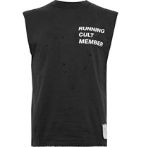Satisfy Distressed Printed Combed Cotton Jersey Tank Top Black