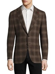 Isaia Regular Fit Exploded Glen Plaid Wool Sportcoat Brown