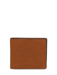 Maison Martin Margiela Lizard Embossed Leather Billfold Wallet Brown