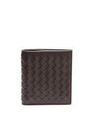 Bottega Veneta Intrecciato Bi Fold Leather Wallet Brown