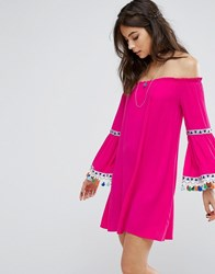 Kiss The Sky Off Shoulder Dress With Festival Pom Trim Pink