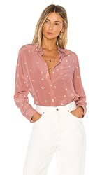 Rails Kate Silk Blouse In Pink. Mauve Lucky Horseshoes