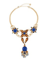 Lydell Nyc Golden Statement Crystal Y Drop Choker Necklace Multi