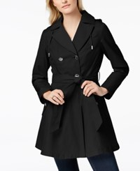 Laundry By Shelli Segal Belted Skirted Trench Coat Black
