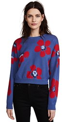 Alice Olivia Leena Floral Crop Sweatshirt Blue Quartz Multi