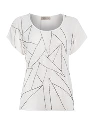 Label Lab Shatter Embellished Woven Top White