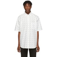 Balenciaga White And Black Allover Logo Short Sleeve Shirt
