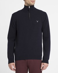 Gant Navy Lambswool Zip Neck Sweater Blue