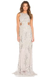 Patricia Bonaldi Embellished Sheer Gown Gray