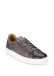 Saks Fifth Avenue Collection By Magnanni Burnished Leather Lace Up Sneaker Grey