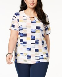 Jm Collection Plus Size Keyhole Neck Jacquard Top Created For Macy's Painterly Geo
