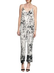 French Connection Copley Crepe Floral Print Jumpsuit Summer White Black