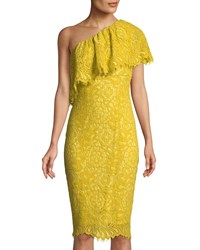 Jax One Shoulder Lace Dress Yellow