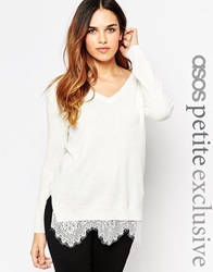 Asos Petite Jumper With V Neck And Lace Hem Cream