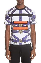 Versus By Versace Safety Pin Harness T Shirt B7028 White Purple