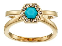 Rebecca Minkoff Pave Gem Ring 12K With Turquoise And Crystal Ring Gold