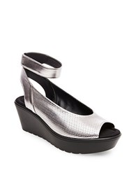 Steve Madden Babelle Perforated Wedge Sandals Pewter