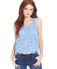 Jessica Simpson Sleeveless Scoop Neck Crochet Top Cornflower