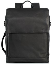 Kenneth Cole New York Leather Convertible Laptop Backpack Black