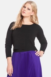 Eloquii Long Sleeve Crop Sweater Plus Size Black
