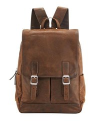Frye Oliver Distressed Leather Buckle Backpack Brown