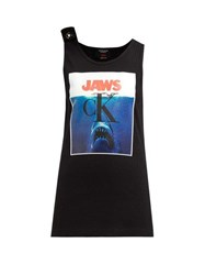 Calvin Klein 205W39nyc Jaws Print Ribbed Stretch Cotton Tank Top Black