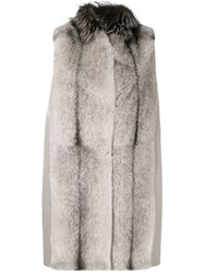 Manzoni 24 Sleeveless Fur Coat Grey